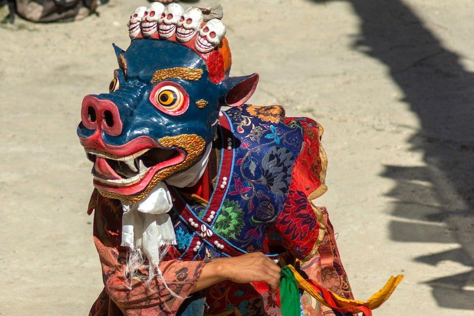 Maschera buddhista animale